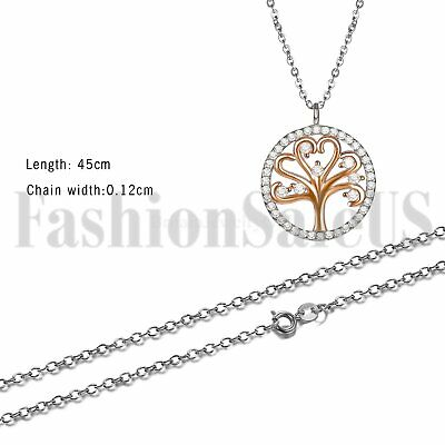 925 Sterling Silver Women's Girls Tree of Life Pendant Necklace Chain Gift Box