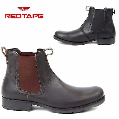 MENS Red Tape LEATHER CHELSEA BROGUE ANKLE DEALER BOOTS MART CASUAL SHOES SIZE
