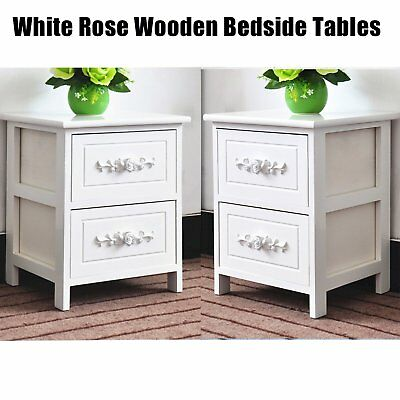 Pair of White Rose Wooden Bedside Tables Cabinets Nightstand 2 Storage Drawers