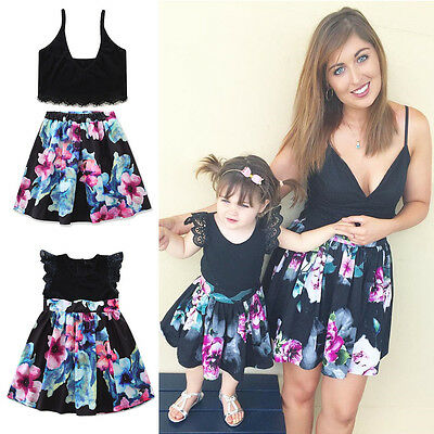 Mother and Daughter Casual Summer Vest Skirt Flower Dresses Matching Outfits Set