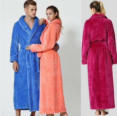 Hot Luxury Womens Mens Thermal Coral Fleece Dressing Gowns Super soft Bath Robes