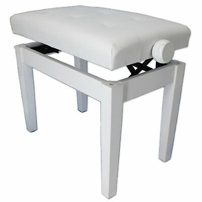 SONATA Adjustable Piano Stool with Wooden Handles - POLISHED WHITE