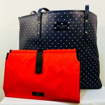 KATE SPADE NY Diaper Bag, navy / white polka dot
