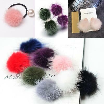8pcs Mixed 40mm Cute Faux Fur Pom Pom Pompoms DIY Earring Charms Hair Crafts