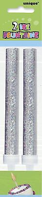 10 Silver Glitz Ice Fountain Candle Cake Topper Bottle Sparkling Birthday Party