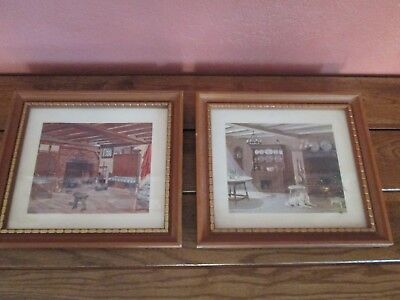 Vintage Ruth Perkins Safford Rustic Kitchen Farmhouse Pair Of 2 Framed Prints