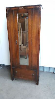 1930's Oak Narrow Mirror Door Wardrobe