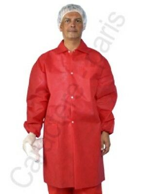 Red Disposable Lab Coats Polypropylene No Pockets Size 6XL Case of 30