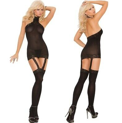 Elegant Moments Little Black Opaque Lace Mini Dress W/Attached Thigh Highs