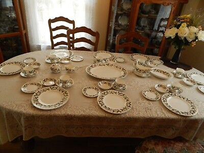 """Wedgwood China """"Strawberry Hill"""" Set for 8 with 6 Serving Pieces - Nice   7-5"""