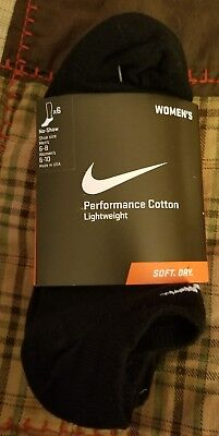 6 PAIRS) NIKE Womens Lightweight Performance Cotton NO SHOW Socks Medium M 6-10