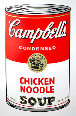 ANDY WARHOL Pop Art - Sunday B Morning Campbell's Soup Can Chicken Noodle + COA