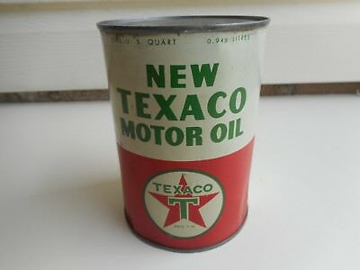 "Vintage ""new Texaco"" One Quart Full Oil Can"