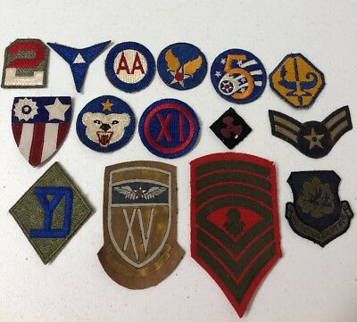 WW2 US Military Patch Lot 15 Patches Total