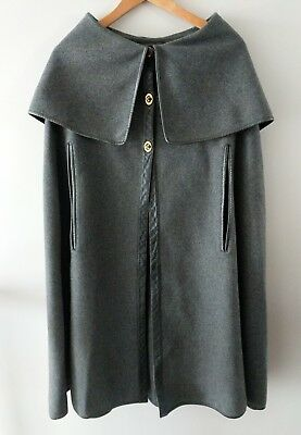 Bonnie Cashin for Sills Gray Wool Cape Leather Trim Layering 60s OSFM