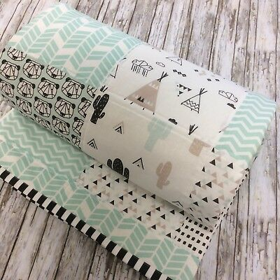 Woodland Bears Teepee Mint Baby Cot Quilt Monochrome Cotton Fabric Backing