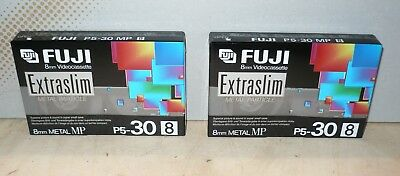 FUJI P5 30 8 mm VIDEOCASSETTE Extraslim NEU NOS Set of 2!!!