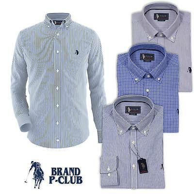 Camicia uomo manica lunga regular fit button down P-CLUB 100 % cotone