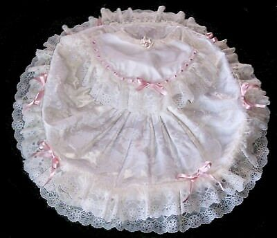 6 6x Girls Vintage Pink Bow Ivory Brocade frilly ruffled lace circle skirt dress