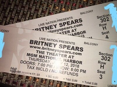 Britney Spears concert tickets MGM July 12 (Balcony Sec.302 Row H Seats 3-4)