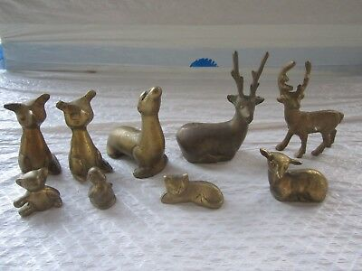Vintage Lot of 9 Small Brass Animals,3 Deers,Bear,Cat,Duck,Seal ,2 unkowns