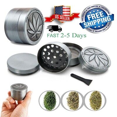 Tobacco Herb Grinder Spice Herbal Alloy Smoke Crusher 4 Piece Metal Chromium USA