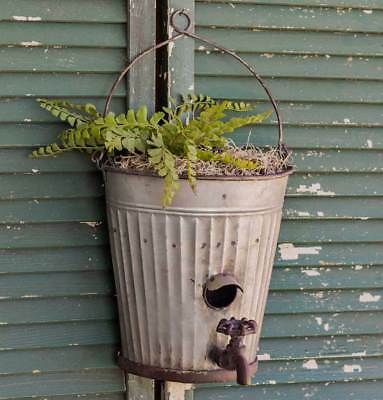 Rustic Country Style Water Bucket Birdhouse Planter Garden Hanging Basket Decor