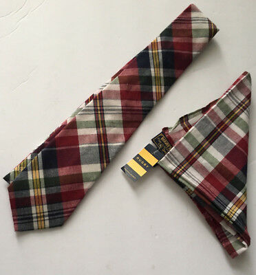 Rugby Ralph Lauren Tie Pocket Square Madras Plaid Red Blue 100% Cotton Italy