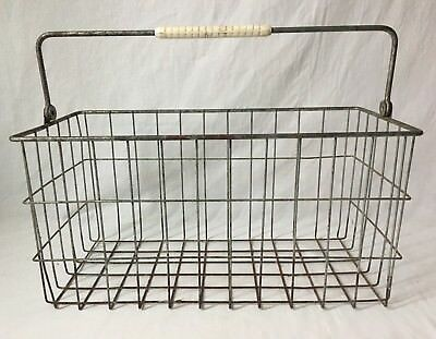 Vintage Wire Egg Basket Plastic Handle Metal Industrial Locker Organization 17""