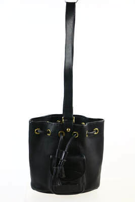 Dooney & Bourke Deep Black Pebbled Leather Drawstring Accent Shoulder Bag