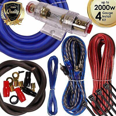 Complete 2000W 4 Gauge Car Amplifier Installation Wiring Kit Amp PK1 4 Ga Blue