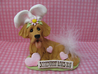 Handsculpted Golden Retriever Easter Bunny Dog Figurine