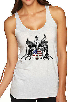 Abraham Lincoln Rock Drummer Womens Music Soft Premium Racerback Tank Top