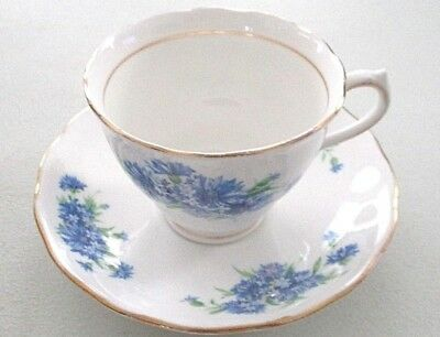 White Blue Flowers COLCLOUGH Fine Bone China GOLD TRIM England TEACUP & SAUCER