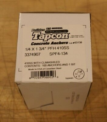 """ITW Buildex Tapcon,Phillips,Stainless Steel ,1/4""""D,1-3/4""""L,PK100, 3374907"""