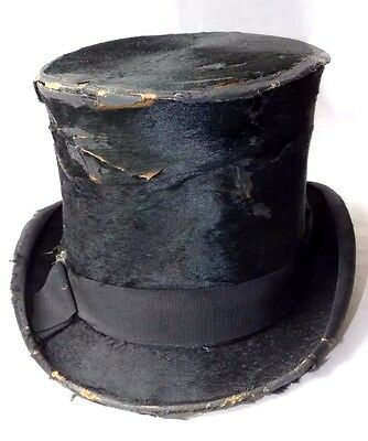 Antique Silk Top Hat with Real Gold Monogram c.1900. Taylor's / London Manufact.