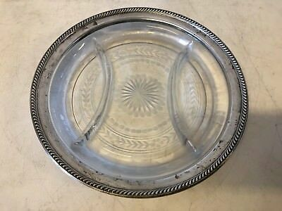 Vintage Watson Sterling Rimmed Glass Floral Decorated Sectional Plate 10""