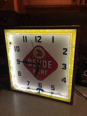 1930's DEVOE PAINT NEON CLOCK SIGN ADVERTISING LACKNER WORKS FREE SHIP RARE READ