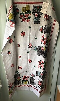 Vintage SIMTEX Hand Printed Tablecloth Memories Stoves Flowers 52x70 NEW