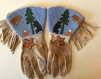 Plateau Native American Beaded Bear Guantlets Gloves