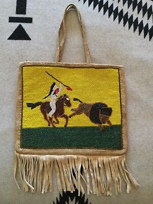 Native American Buffalo Hunt Beaded Pictorial Plateau Bag