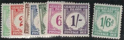 GILBERT AND ELLICE KGVI 1940 Postage Dues Set Scott J1-8 SGD1-8 Lightly Hinged