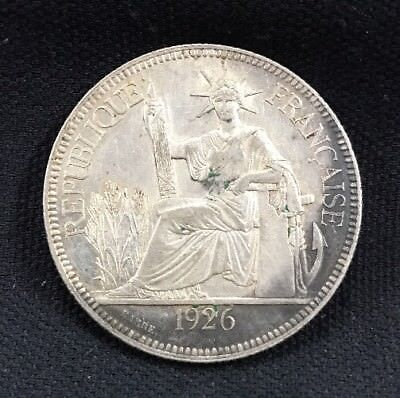 1926 A French Indo China One Piastre Silver Coin