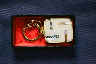 Vintage Schmid Bros wind-up music box keychain Moulin Rouge inlaid MOP musical