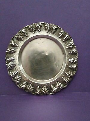 Vintage Judaica Sterling Silver 925 Plate/tray For Kiddush Cup Grapes Motif