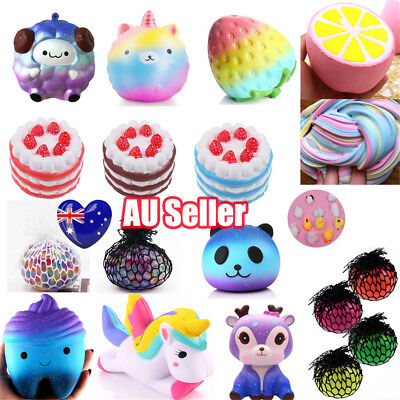 AU Jumbo Slow Rising Squishies Scented Charms Kawaii Squishy Squeeze Toys Gift E