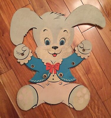 Vintage Dolly Toy Company EASTER BUNNY Rabbit Nursery Wall Hanging 1958 Co Rare