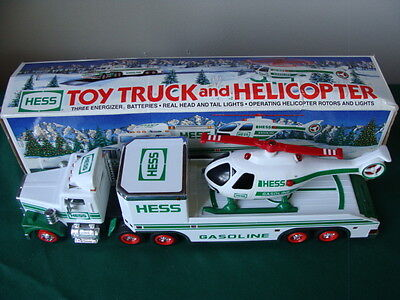 1995 Toy Hess Flatbed Semi Truck w/Lights, Spinning Helicopter