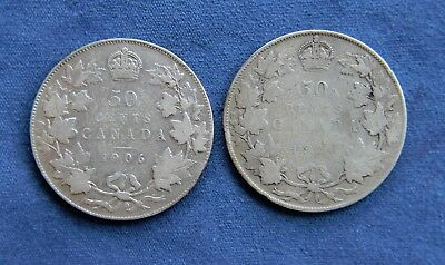 Canada 1906 & 1920 Silver Fifty Cents