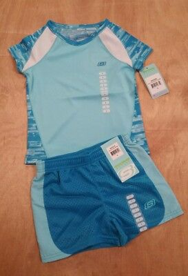 NWT Girls Skechers Mesh Active Shorts and Top Set,  Blue fish / Square Strokes